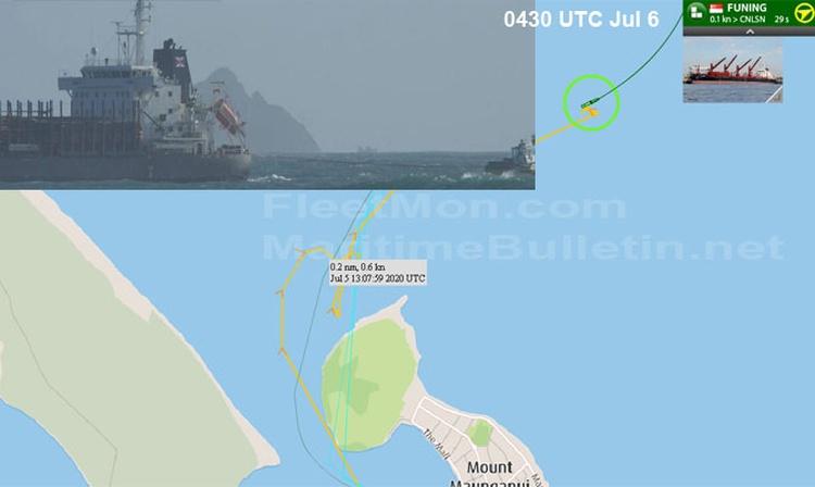 Bulk carrier disabled while leaving Tauranga NZ