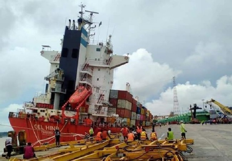 Container Ship Tilts While Loading Containers At Chittagong Port