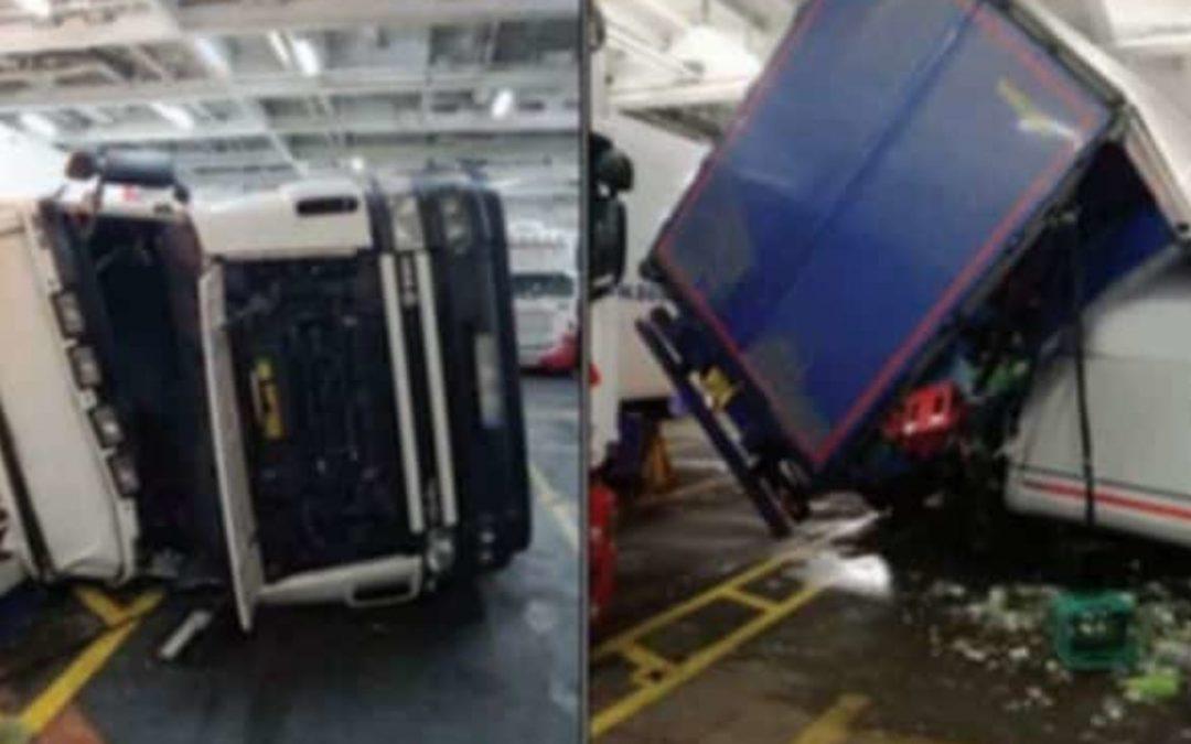 Ro-Ro Vessel Rolls Heavily And Tips Trucks