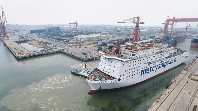 Giant Hospital Ship Nears Completion at Tianjin Xingang Shipyard