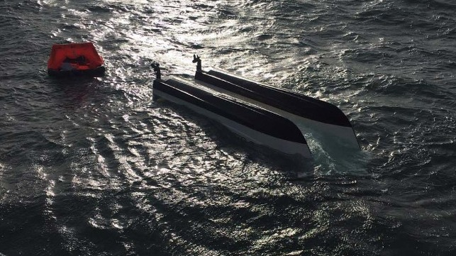 Royal Navy Rescues Two Fishermen From Capsized Vessel