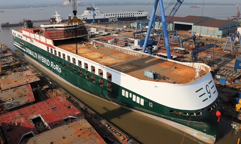 Grimaldi Welcomes 3rd Hybrid RO-RO Vessel Into The Fleet
