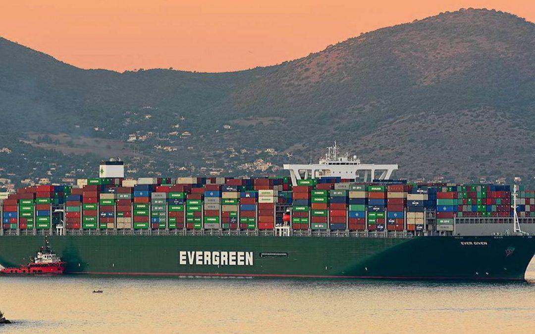 Boxship Blocks Suez Canal